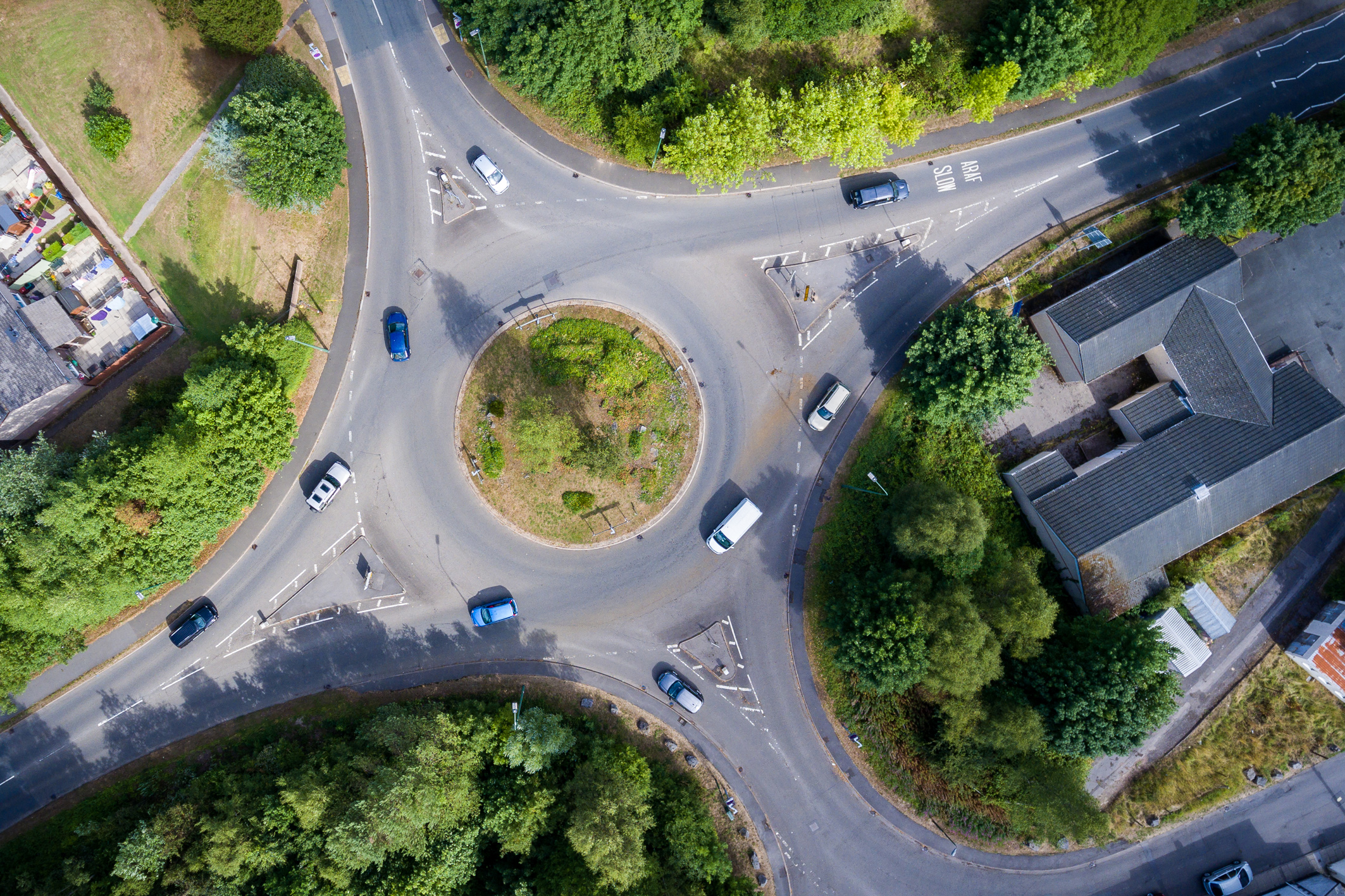 Drone view of roundabout